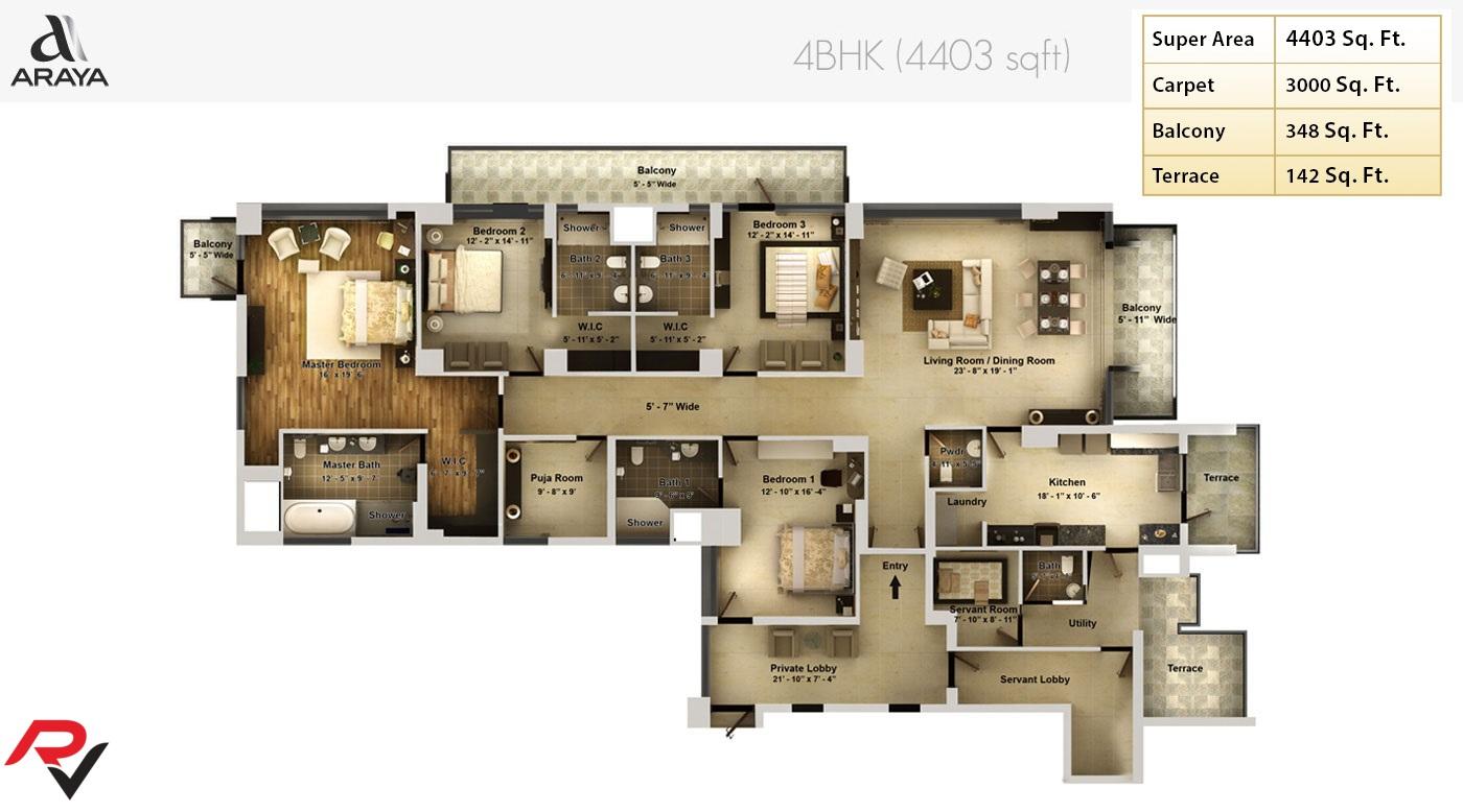 4Bhk + Puja Room