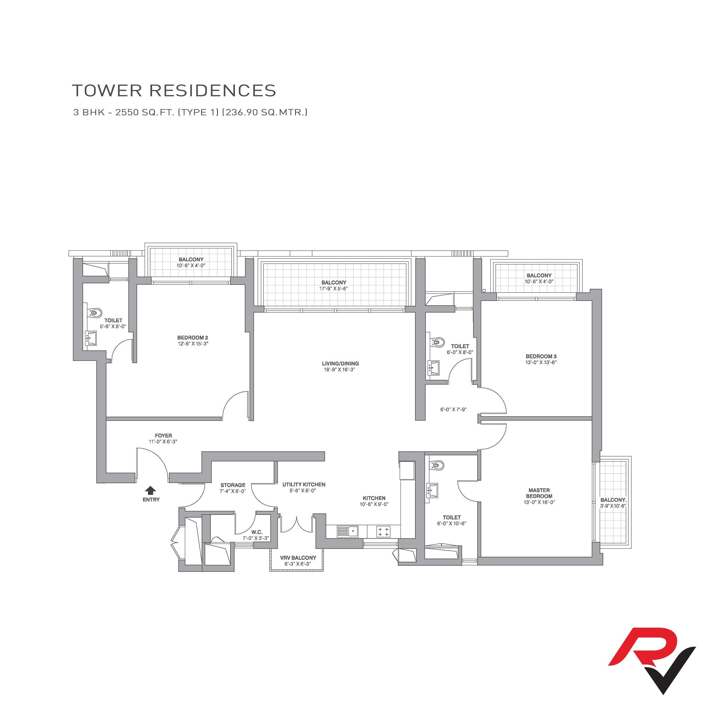 3Bhk + Servant Room