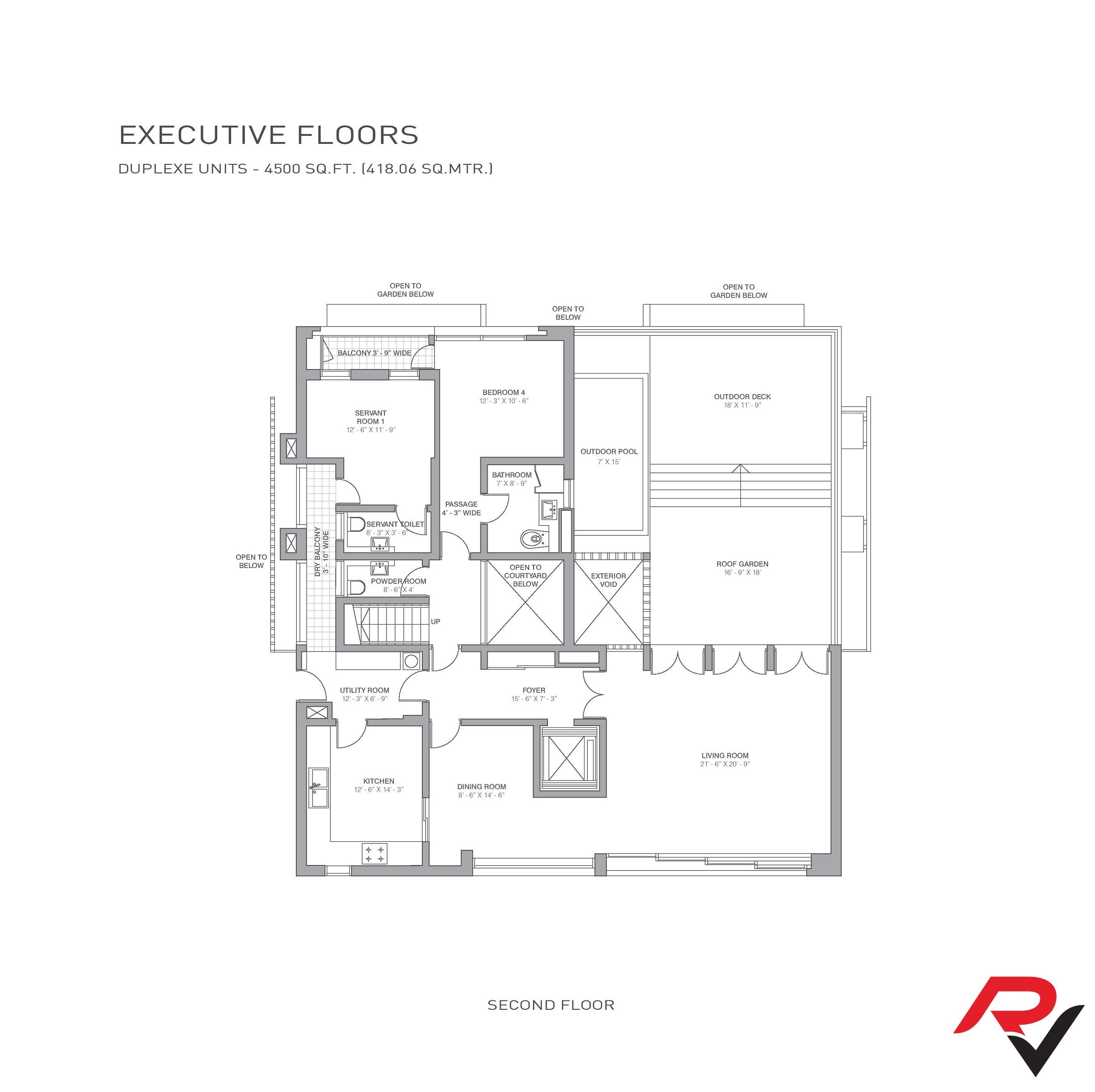 4Bhk + Servant Room + Roof Garden + Deck + Pool