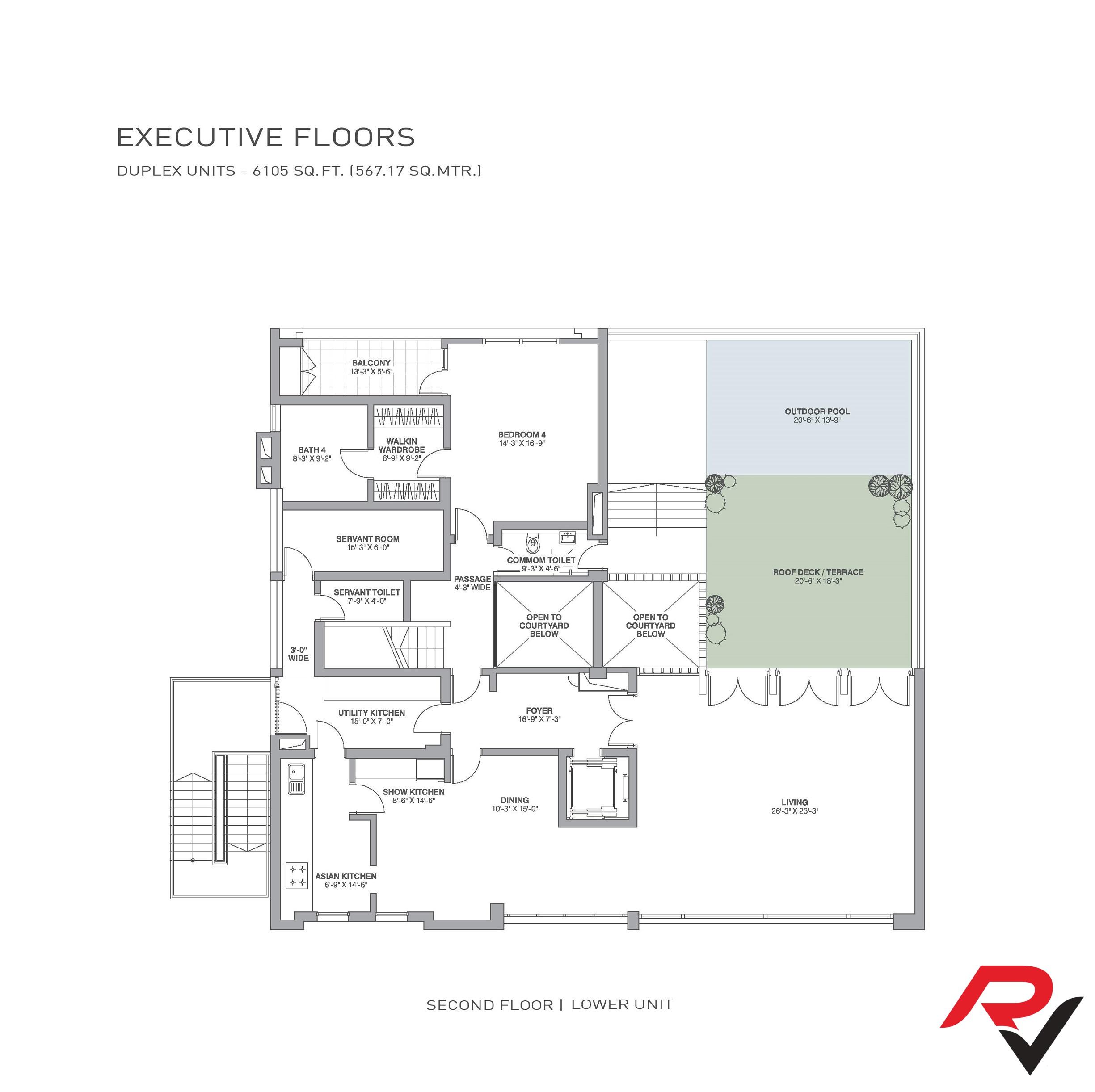 4Bhk + Servant Room + Roof Deck/Terrace + Pool