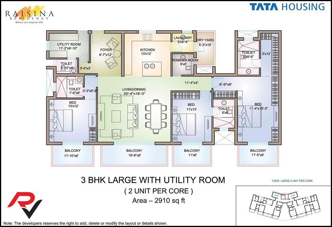 3Bhk Large + Utility Room