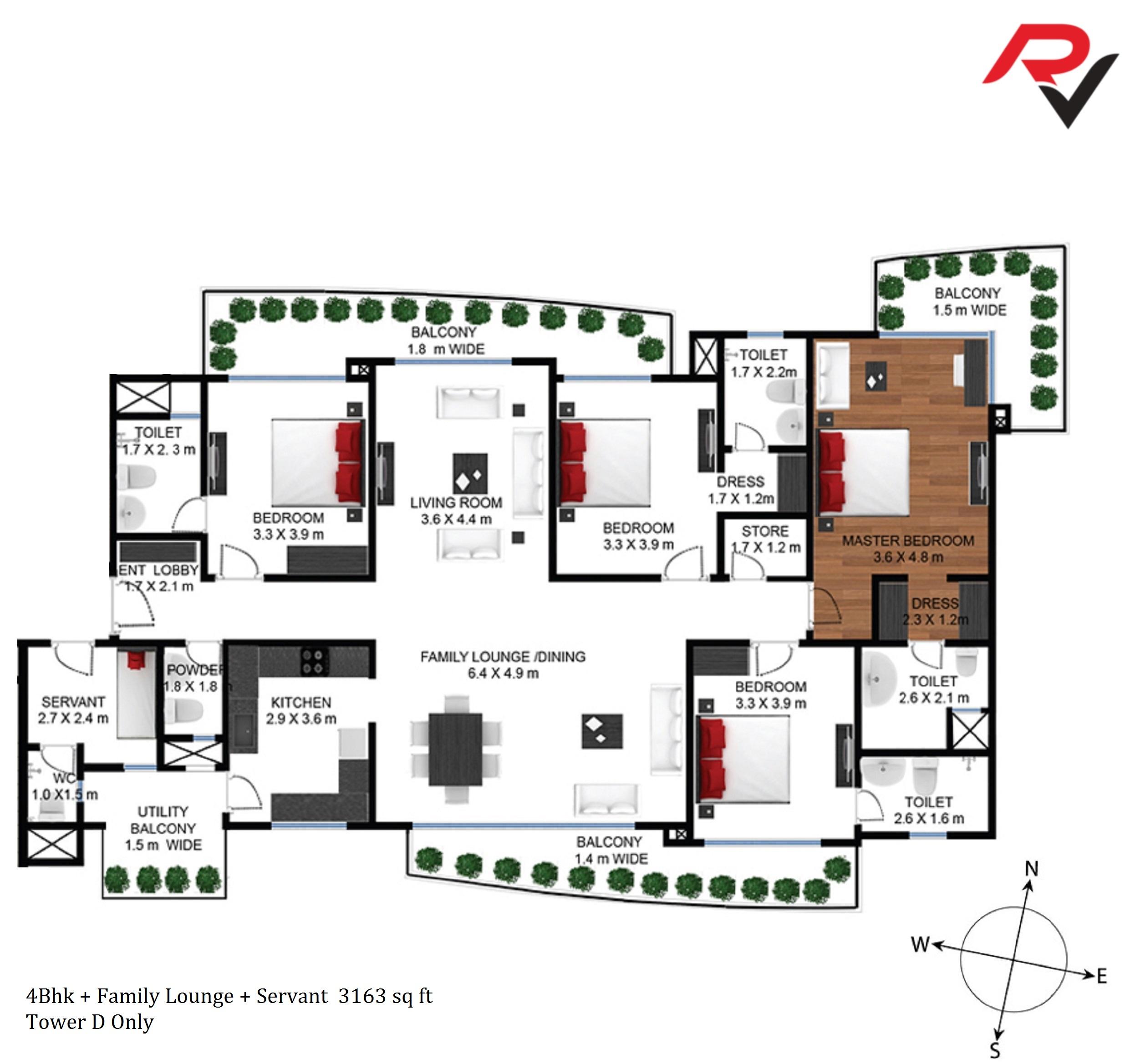 4Bhk + Family Lounge + Servant