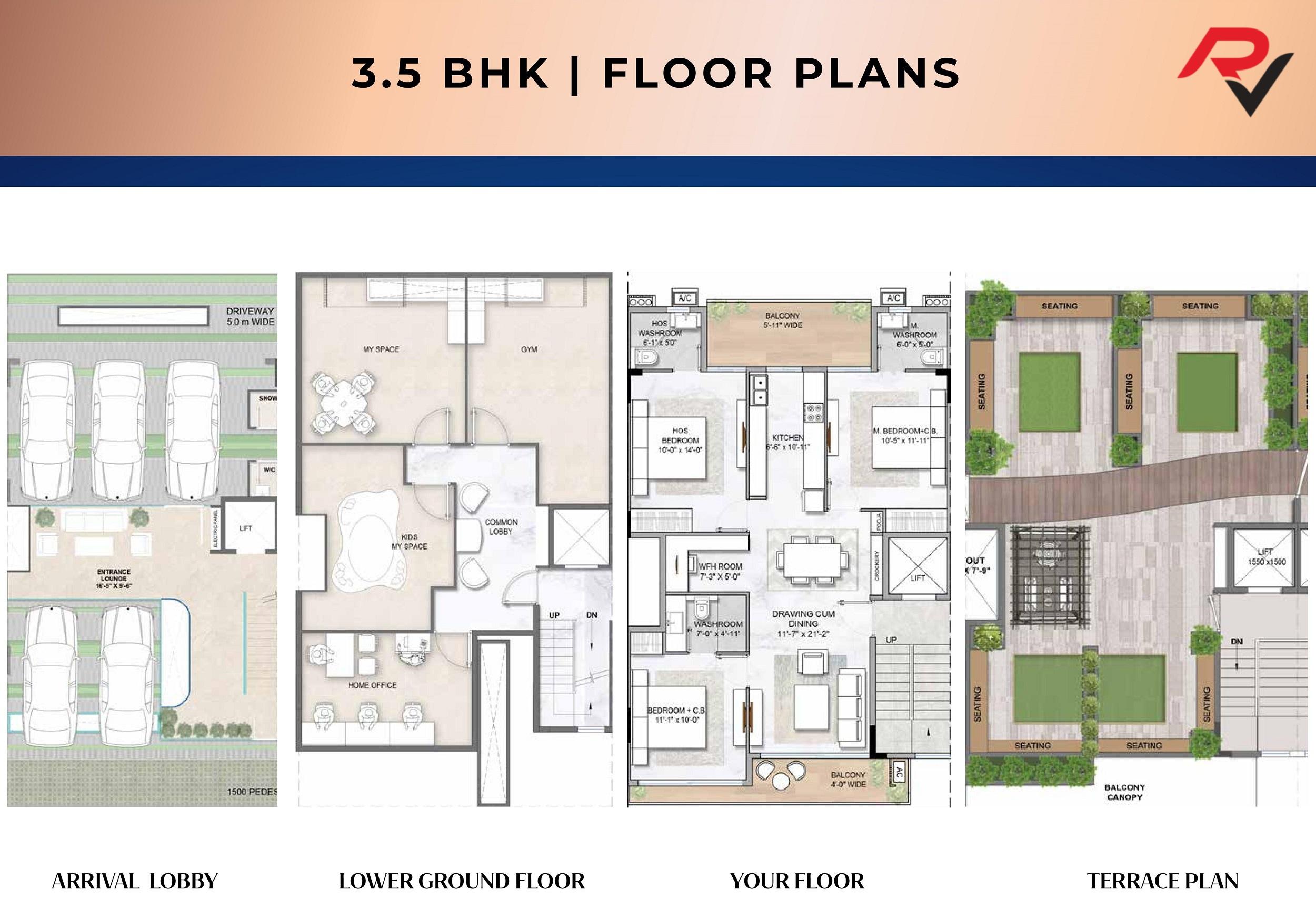3Bhk + Study Building Plan